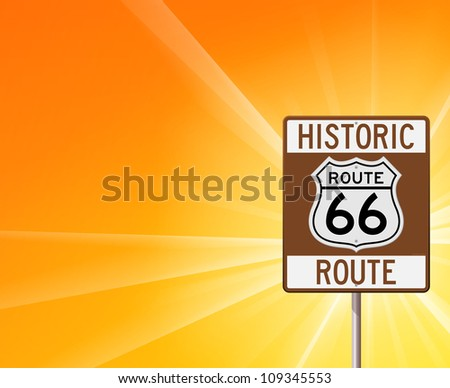 Historic Route 66 on Yellow - Classic brown roadsign on yellow sunshine background