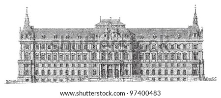 Historical building - Palace of justice - Vienna (Austria) / Vintage illustration from Meyers Konversations-Lexikon 1897