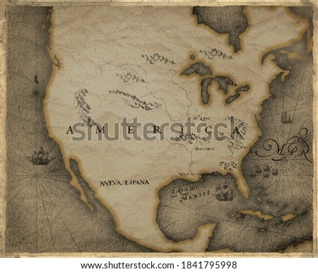 historical map of north America Foto stock ©