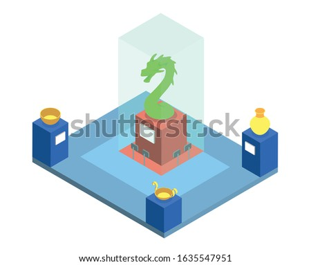 Historical museum exposition isometric vector illustration. Cultural heritage exhibition, showroom with ancient artifacts 3d interior layout isolated on white. Archeological exhibits collection