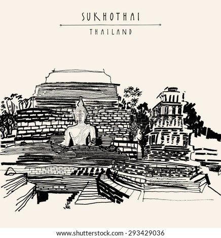 Historical park in Sukhothai, Thailand, Southeast Asia. Sculptures of Buddha sitting in front of old stupa ruins. Monochromatic freehand drawing. Tourist attraction travel poster postcard template