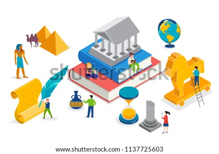 History class, school, college lesson. Vector isometric concept design