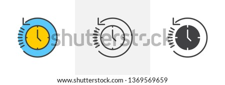 History, clock with arrow around icon. Line, glyph and filled outline colorful version, time back outline and filled vector sign. Symbol, logo illustration. Different style icons set. Vector graphics Сток-фото ©