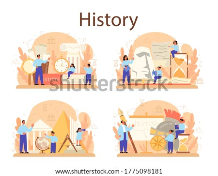 History concept set. History school subject. Idea of science and education. Knowledge of past and ancient. Isolated vector illustration in flat style