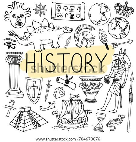 history hand drawn doodles