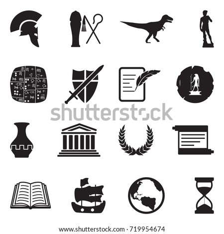 History Icons. Black Flat Design. Vector Illustration.