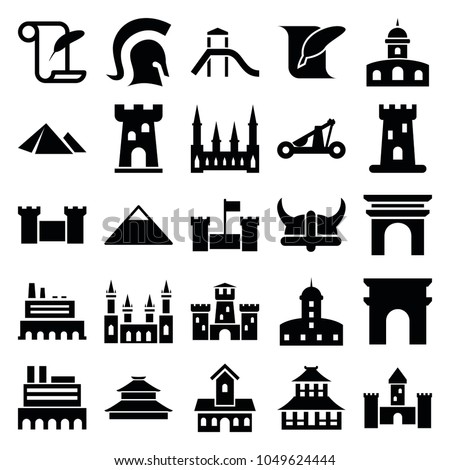 History icons. set of 25 editable filled history icons such as castle, pyramid, arc de triomphe, temple, feather and paper, knight, catapult