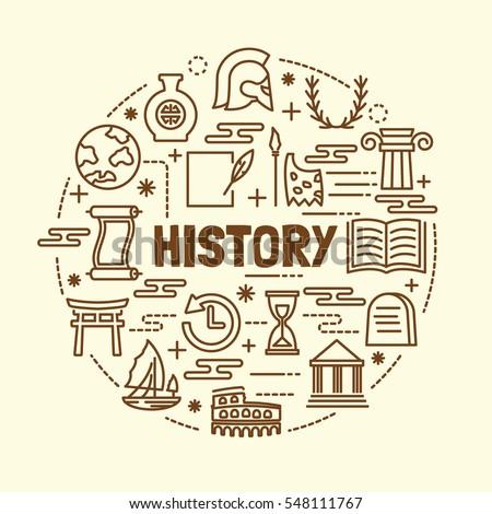history minimal thin line icons set, vector illustration design elements