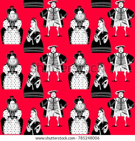 History of England. Queen Elizabeth I, King Henry VIII, Queen Victoria. Black and white. Vector illustration.