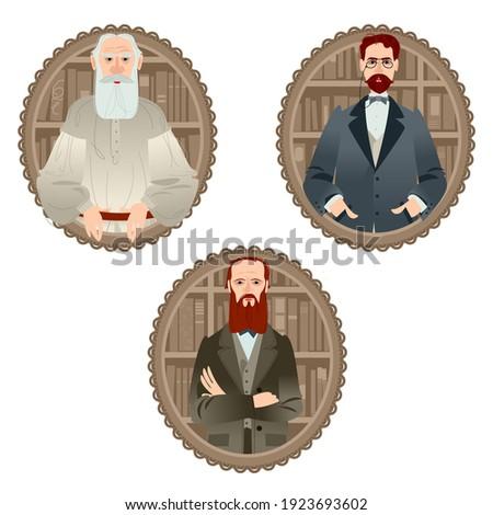 History of Russia. Famous Russian writers. Leo Tolstoy, Fyodor Dostoevsky, Anton Chekhov. Vector illustration Photo stock ©