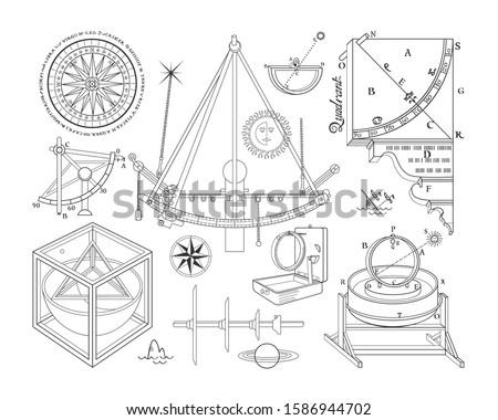 History of space exploration. Vector clipart.