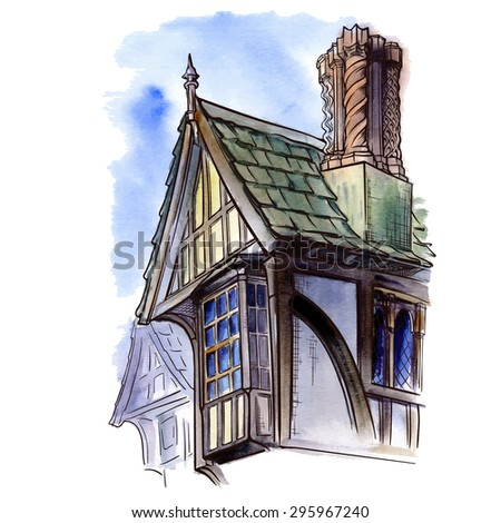 History of the British architectural styles. Tudor architecture. Half-timbered residential house. Sketch isolated in a separate layer above traced watercolor Background EPS10 vector illustration