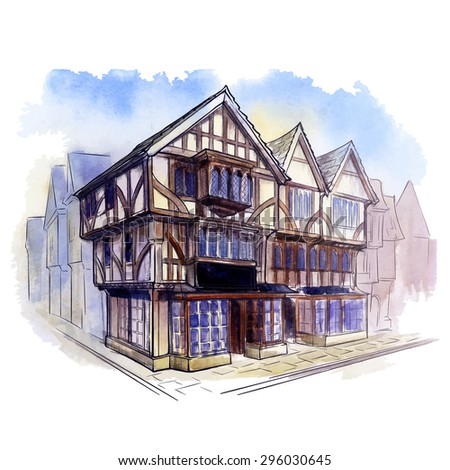 History of the British architectural styles. Tudor architecture. Half-timbered residential house. Line sketch isolated in a separate layer above traced watercolor Background EPS10 vector illustration.
