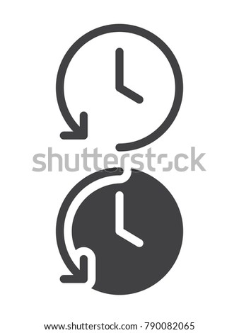 History simple icon, line and solid version, outline and filled vector sign, linear and full pictogram isolated on white. Clock with arrow symbol, logo illustration, pixel perfect vector graphics