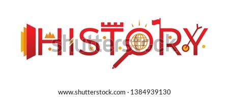 history word logo. vector history word and history symbols