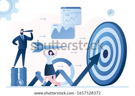 Hit business targets. Stock market analysis. Businesspeople with dart, growing graph and target. Achievement goals with strategy and focus on graph data and analysis. Profit, Revenue Forecast. Vector