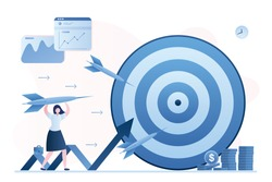 Hit business targets. Stock market analysis. Woman holding dart, growing graph and target. Achievement goals with strategy and focus on graph data and analysis. Profit, Revenue Forecast. Vector