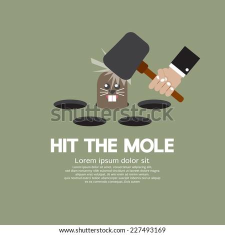 Hit The Mole Fun Game Vector Illustration Stockfoto ©