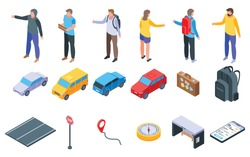 Hitchhiking icons set. Isometric set of hitchhiking vector icons for web design isolated on white background
