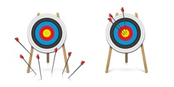 Hitting and missed target with archery arrow set. Goal achievement and strategical planning. Success and failure. Dartboard with point mark on tripod. Flat cartoon design. Vector illustration