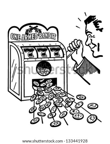 Hitting The Jackpot - Retro Clip Art Illustration