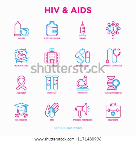 hiv and aids thin line icons