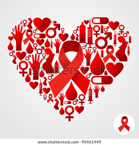 HIV icons set in heart shape. Vector file available - stock vector