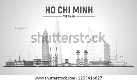 Ho Chi Minh city (Vietnam) line skyline with panorama in white background. Vector Illustration. Business travel and tourism concept with modern buildings. Image for banner or web site.