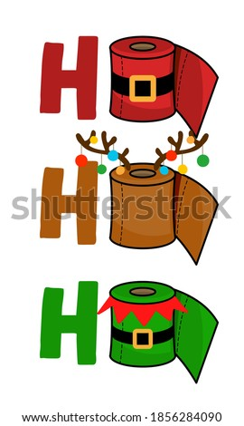 Ho Ho Ho - Merry Christmas 2020 Quarantine, Cartoon doodle drawing toilet papers in Santa and Elf costume and with reindeer antlers. Text for self quarantine times. 2020 special edition Xmas.
