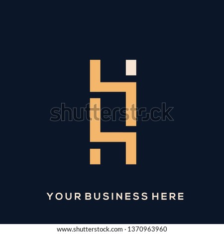 HO monogram logo.Typographic icon with letter H and letter O intertwined.Geometric, modern, corporate, clean, web style.Lettering sign isolated on light background.Abstract alphabet initials shapes.