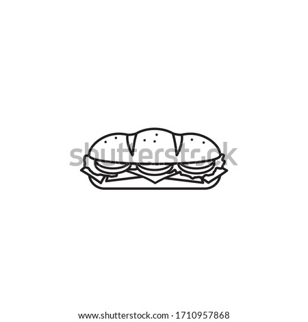 Hoagie or sub with tomato, lettuce, ham, and cheese vector line icon. Take-away food outline symbol. ストックフォト ©
