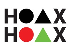 HOAX TYPOGRAPHY with triangle and circle shapes
