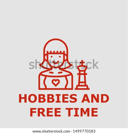 Hobbies and free time symbol. Outline hobbies and free time icon. Hobbies and free time vector illustration for graphic art.