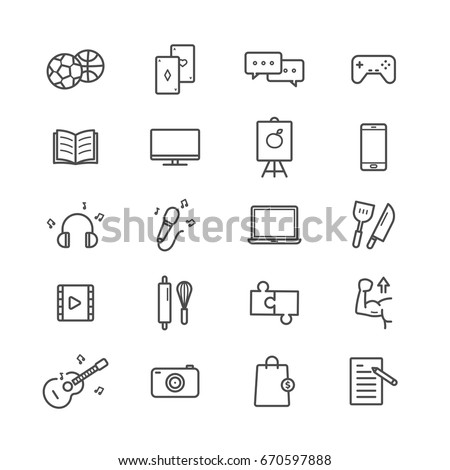 Hobbies icon set on white background
