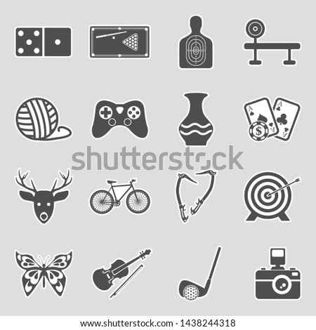 Hobbies Icons. Set 2. Sticker Design. Vector Illustration.