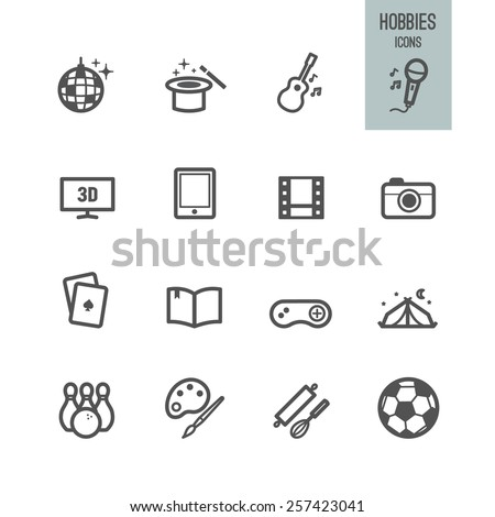 Hobbies icons. Vector illustration.