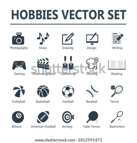 hobbies vector icon set navy