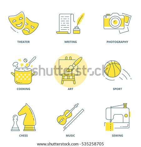 Hobbies vector icons set