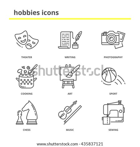 Hobbies vector icons set: theater, writing, photography, cooking, art, sport, chess, music, sewing. Line style, education concept