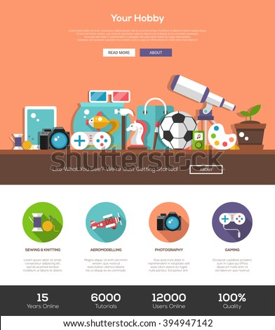 Hobbies website template with modern flat design banner, header, icons and other web vector elements