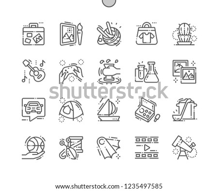 Hobbies Well-crafted Pixel Perfect Vector Thin Line Icons 30 2x Grid for Web Graphics and Apps. Simple Minimal Pictogram