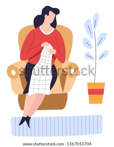 Hobby and leisure pastime knitting woman in armchair with needles vector woolen scarf girl creating handmade clothes craft threads furniture chair and carpet indoor plant recreation crafted knitwear.