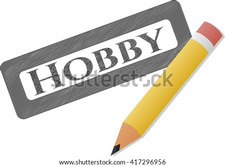 Hobby emblem draw with pencil effect