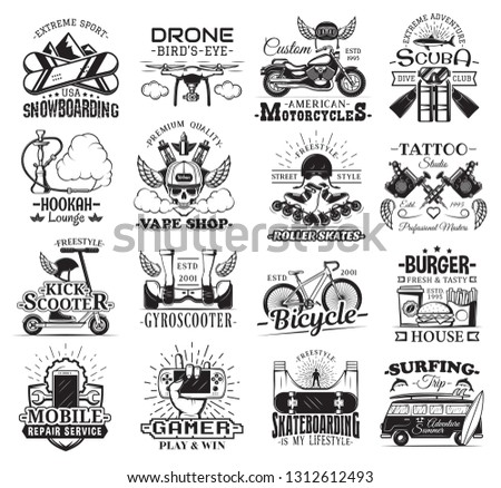 Hobby, entertainment and leisure vector icons. Snowboarding sport and drone, motorbike and scuba diving, hookah and vape shop, roller skates and tattoo salon, gyro scooter and bicycle, mobile service