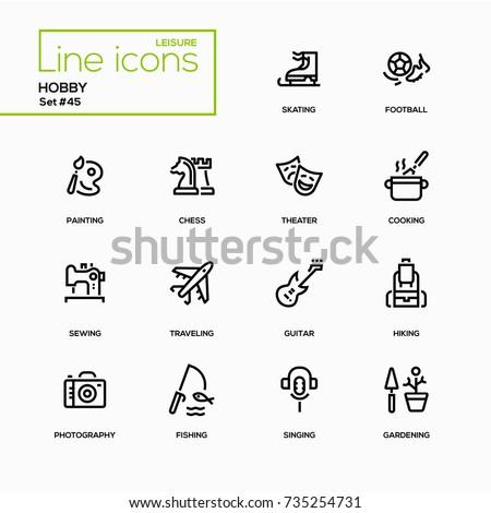 hobby   line design icons set