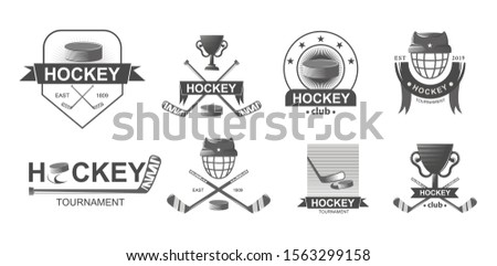Hockey championship big set logos in monochrome style. Sport emblem competition. Emblems with sticks and hockey mask