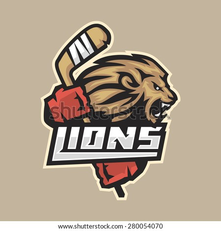 hockey emblem ferocious lion