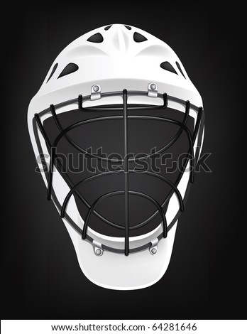 Hockey Helmet isolated on Black Background. Vector.