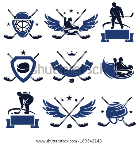 hockey labels and icons set