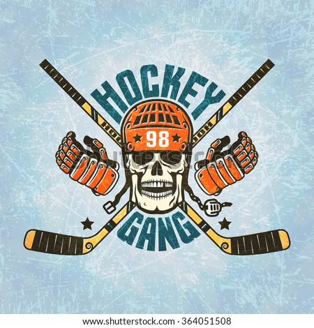 hockey logo   a skull in a